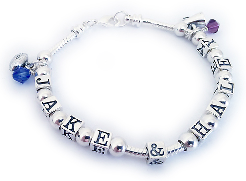 JBL-SSP-1 Name(s): JACK & HALEY shown. 10 letters/numbers/symbols, 13 spacer beads, 2 charms (football and megaphone), 2 birthstone crystal dangles